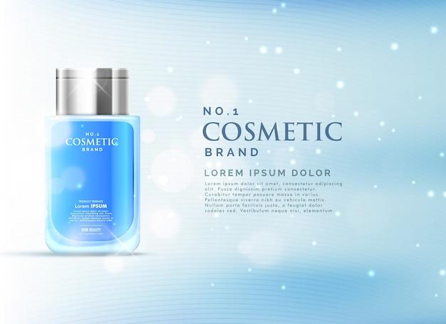 Cosmetici modello di annunci di prodotto di visualizzazione concetto con bellissimo sfondo blu bokeh Vettore gratuito