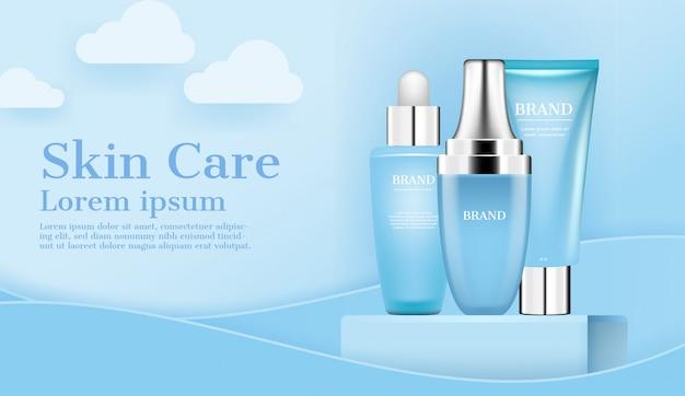 Cosmetici per la cura della pelle e cosmetici Vettore Premium