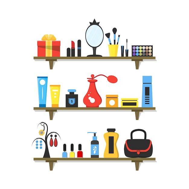 Cosmetici piatti sugli scaffali Vettore Premium