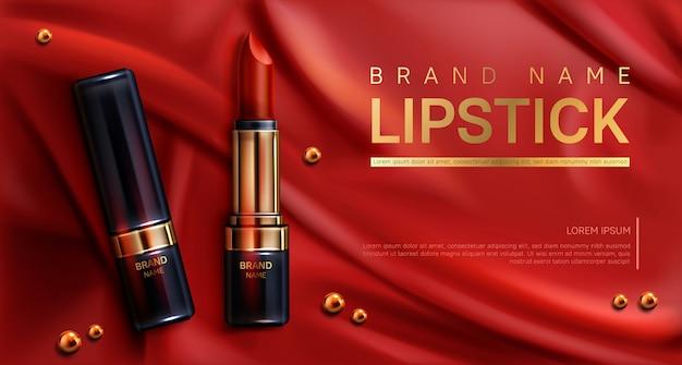 Cosmetici rossetto compongono banner di prodotti di bellezza Vettore gratuito
