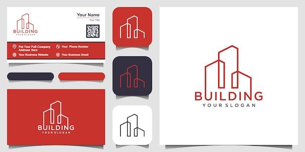 Costruendo con il concetto di linea. città edificio astratto per logo inspiration. progettazione di biglietti da visita Vettore Premium