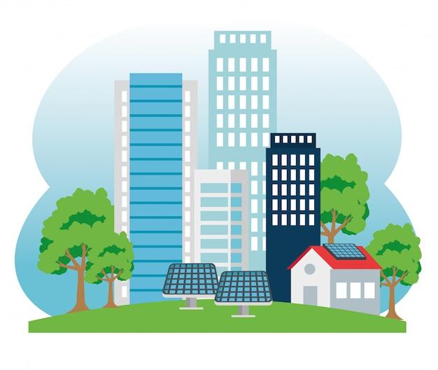 Costruire e casa con energia solare e tres Vettore Premium