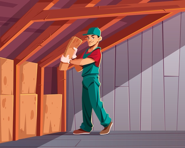 Costruire isolamento termico o acustico, perdita di calore per abitazione riducendo al minimo i cartoni animati Vettore gratuito