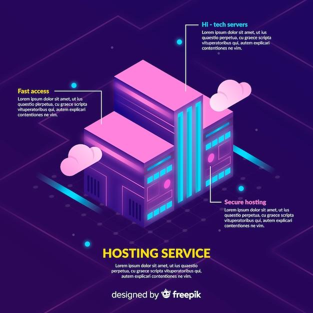 Costruire lo sfondo del servizio di hosting Vettore gratuito