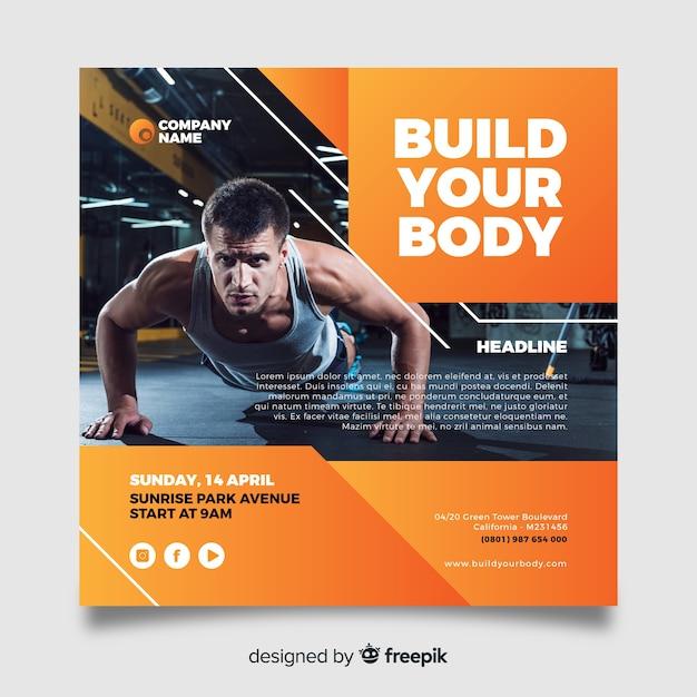 Costruisci il tuo volantino per lo sport del corpo con l'immagine Vettore gratuito