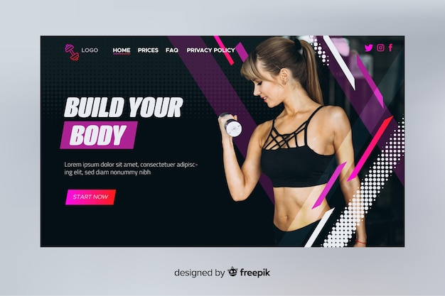 Costruisci la tua landing page per lo sport del corpo con la foto Vettore gratuito