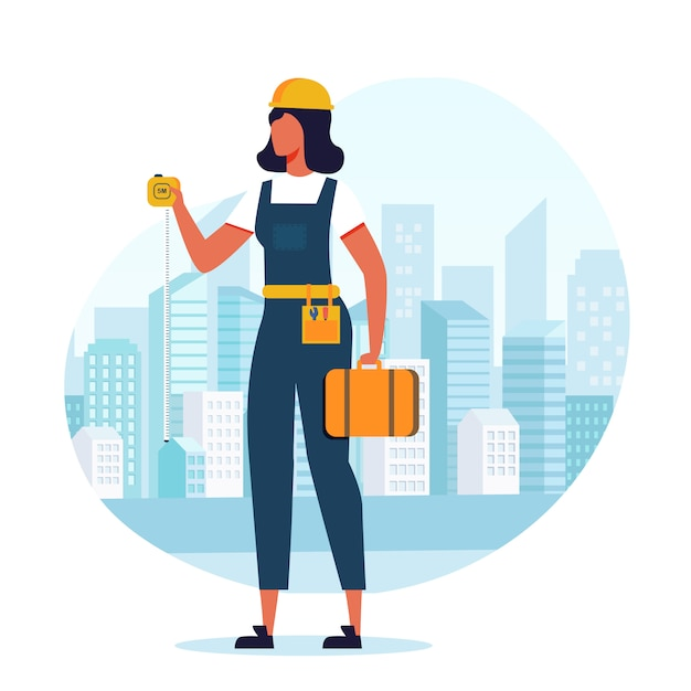 Costruttore della donna, appaltatore piano Vettore Premium