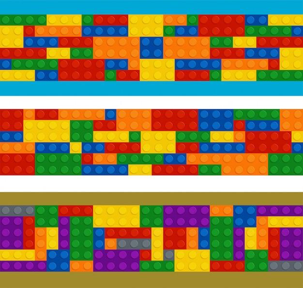 Costruttore in plastica in ordine orizzontale, set di pezzi di colore diverso Vettore Premium