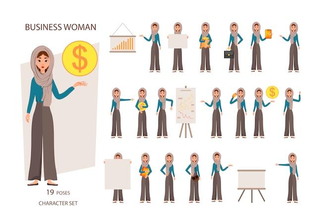 Costruttore set di personaggi femminili. ragazze con attributi finanziari su sfondo bianco. Vettore Premium