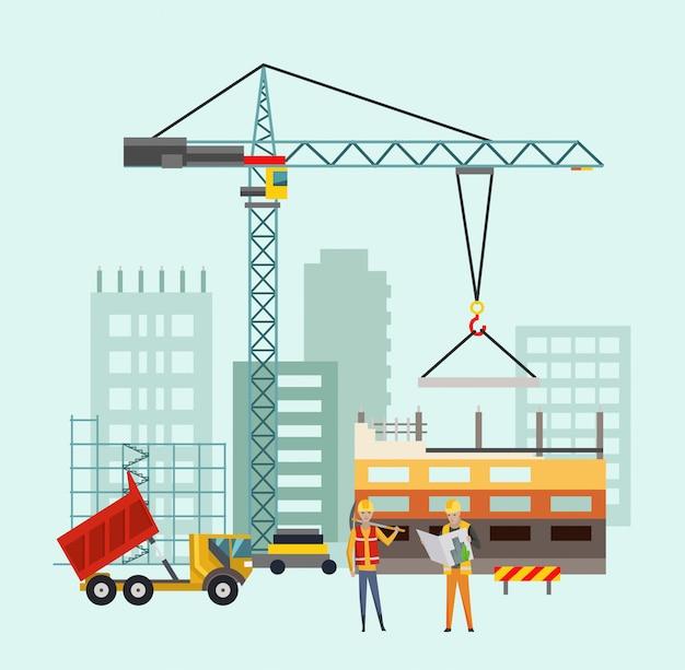 Costruttori sul cantiere. processo di costruzione di edifici con case e macchine da costruzione. illustrazione vettoriale con persone Vettore Premium