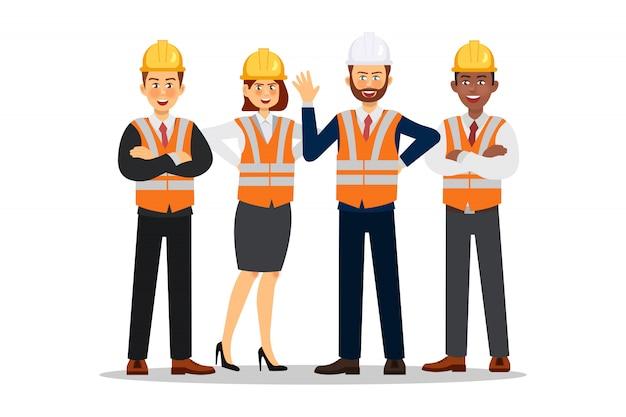 Costruttori vestiti con giubbotti protettivi e caschi. carattere operaio edile Vettore Premium