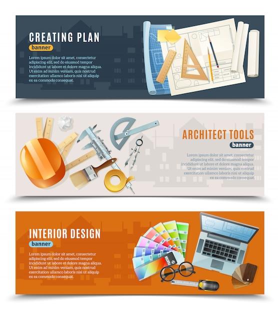 Costruzione architetto strumenti banner Vettore gratuito