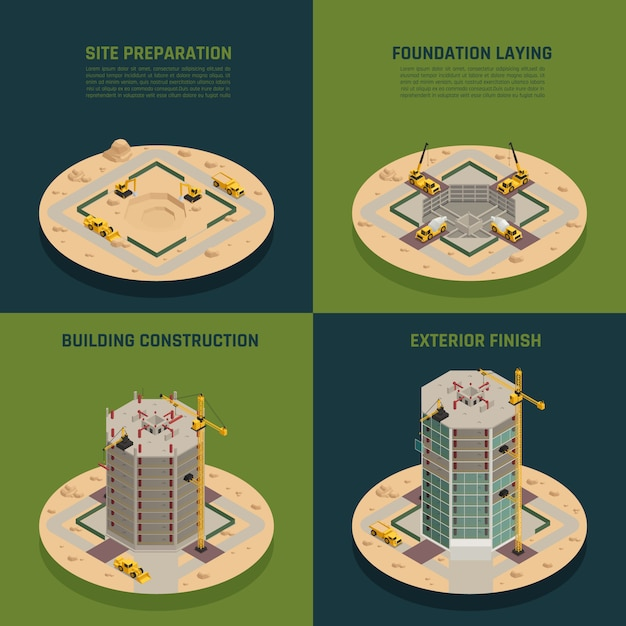 Costruzione del grattacielo isometrica Vettore gratuito
