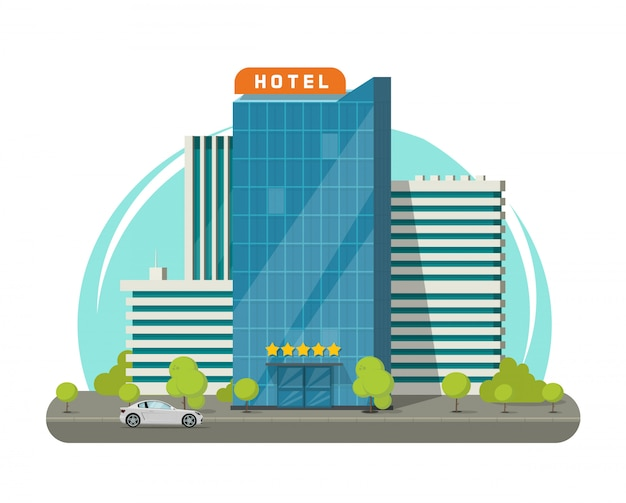 Costruzione dell'hotel isolata sul fumetto piano dell'illustrazione di vettore della via della città Vettore Premium