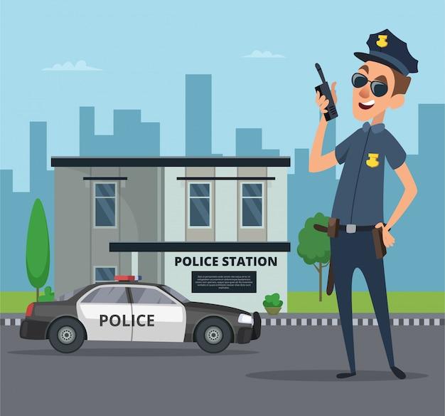 Costruzione della stazione di polizia e personaggio dei cartoni animati del poliziotto Vettore Premium