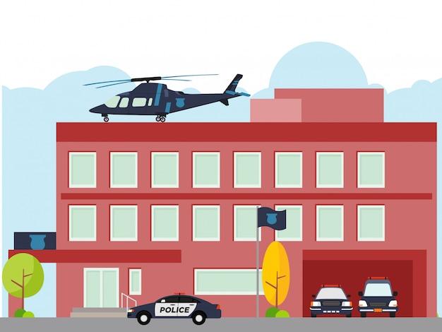 Costruzione di dipartimento della stazione di polizia della città con l'elicottero e la macchina della polizia Vettore Premium