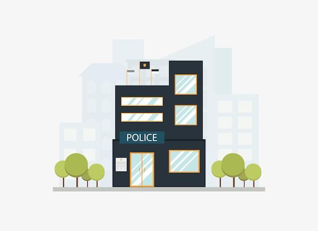Costruzione di dipartimento moderna della stazione di polizia della città con l'orizzonte della città nello stile piano. Vettore Premium