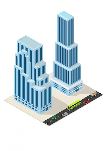 Costruzione di grattacieli isometrici Vettore Premium