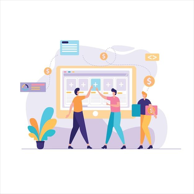 Costruzione di illustrazione del progetto di business Vettore Premium