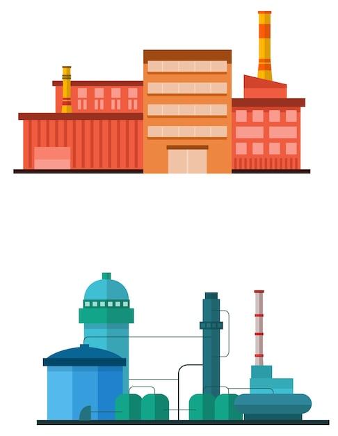 Costruzione di impianti industriali in stile vettoriale piatta Vettore Premium