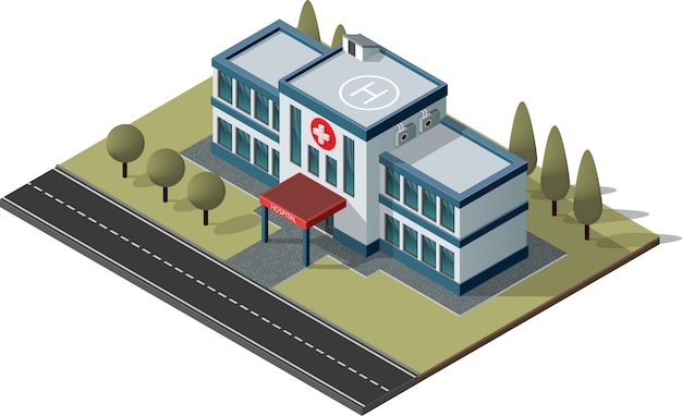 Costruzione di ospedali e ambulanze. Vettore Premium