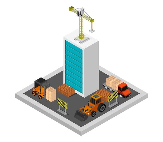 Costruzione edificio isometrico Vettore gratuito