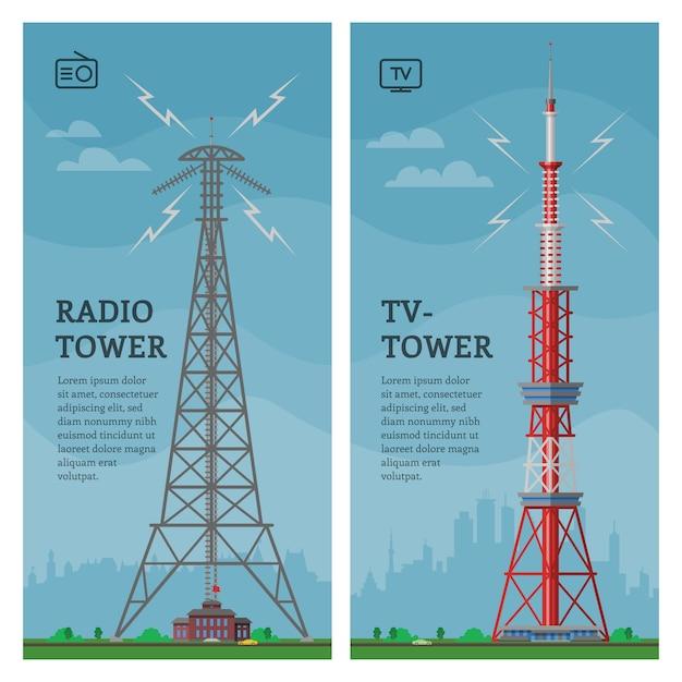 Costruzione globale dell'antenna torreggiata torre dell'orizzonte globale nella costruzione del grattacielo e della città con l'insieme di paesaggio urbano dell'illustrazione di comunicazione della rete del fondo torreggiante di architettura Vettore Premium