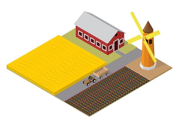 Costruzione isometrica dell'agricoltura Vettore Premium