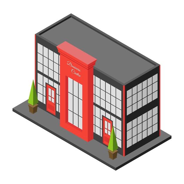 Costruzione isometrica della città del centro commerciale o del centro commerciale. grande casa di città o hotel Vettore Premium