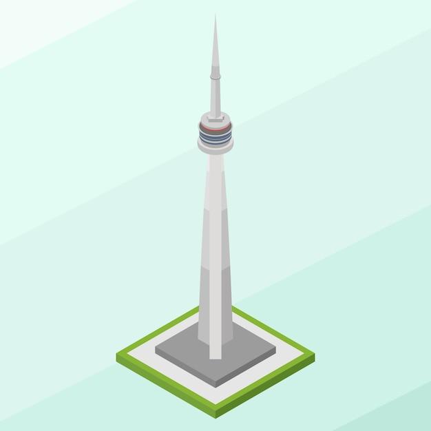 Costruzione isometrica della torre cn Vettore Premium