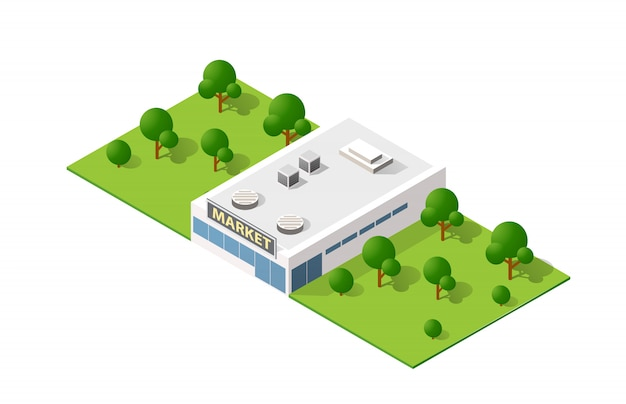 Costruzione isometrica di vista superiore del paesaggio 3d di moderno Vettore Premium