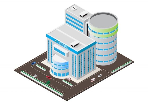 Costruzione isometrica moderna dell'ospedale di vettore Vettore Premium