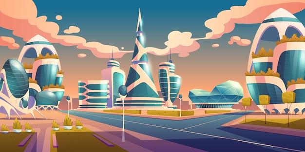 Costruzioni futuristiche della città futura con la facciata di vetro Vettore gratuito