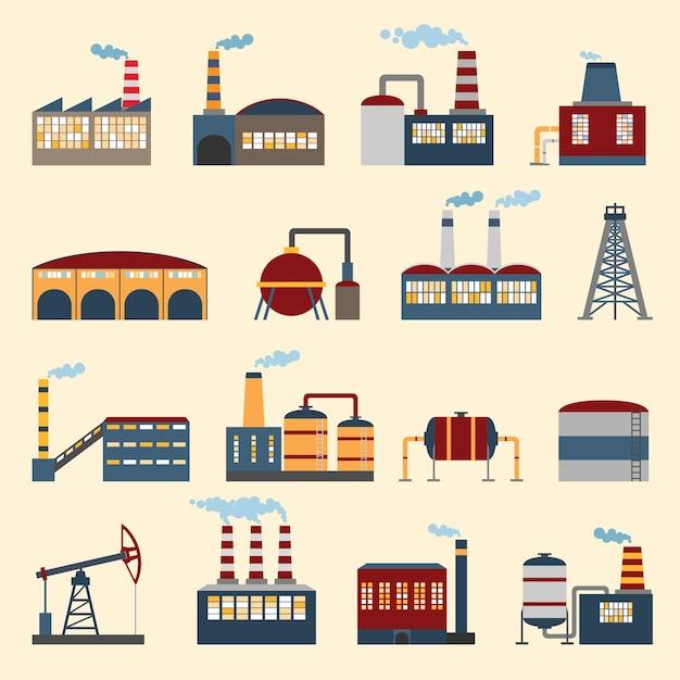 Costruzioni industriali e piante icone impostare isolato illustrazione vettoriale. Vettore gratuito