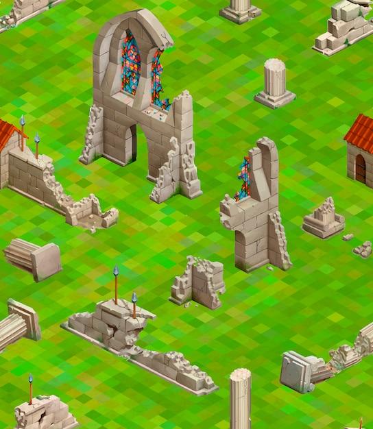 Costruzioni medievali su erba verde, modello senza cuciture isometrico Vettore Premium