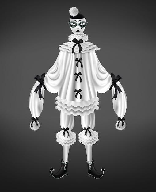 Costume bianco di pierrot con fiocchi neri e pompon su maniche lunghe Vettore gratuito