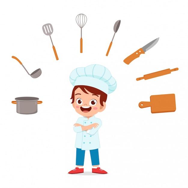 Costume da chef ins felice ragazzo carino bambino Vettore Premium