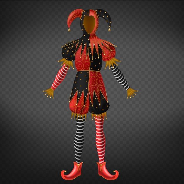 Costume da giullare o giullare isolato su sfondo trasparente. Vettore gratuito