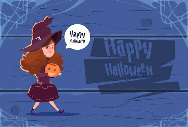 Costume da strega carino da indossare per bambini, cartolina d'auguri di felice halloween Vettore Premium
