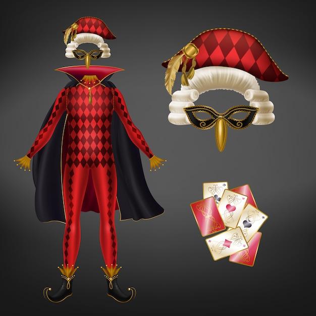 Costume medievale arlecchino, giullare o burlone rosso con baldacchino, maschera per il viso Vettore gratuito