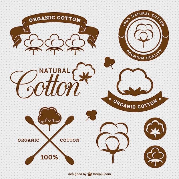 Cotone naturale etichette pacchetto Vettore gratuito