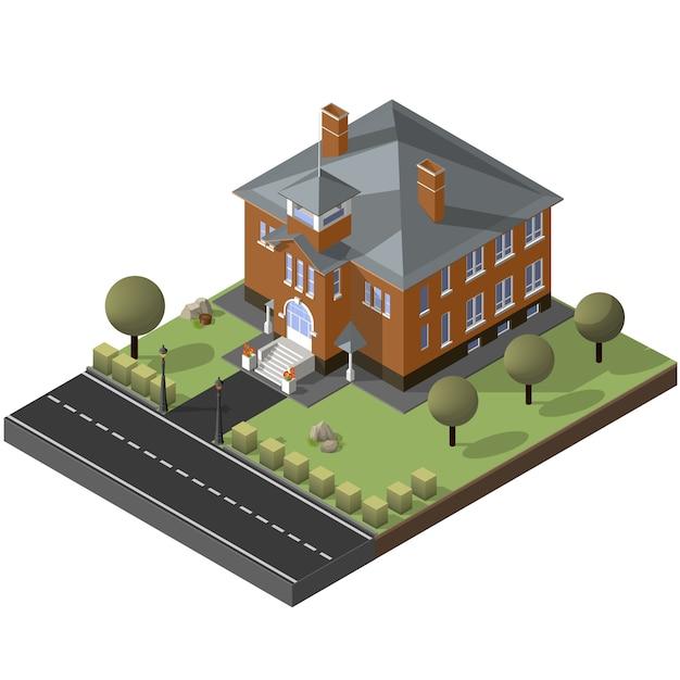 Cottage americano, piccola casa in legno Vettore Premium