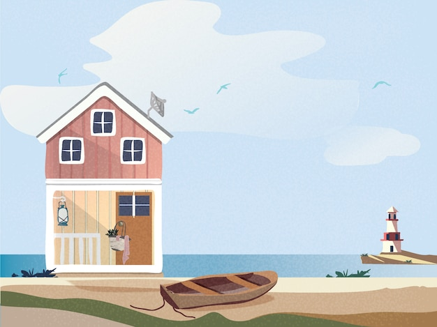 Cottage colorato con barca di legno sulla spiaggia con il faro. Vettore Premium