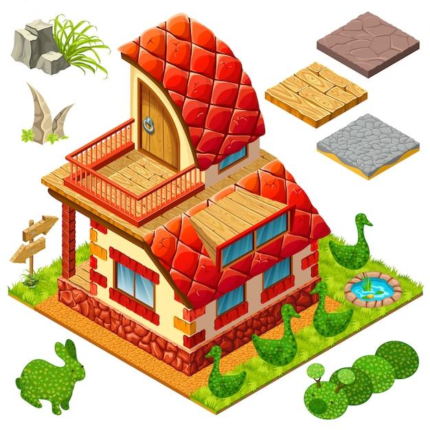 Cottage isometrico e cespugli in forme di animali. Vettore Premium