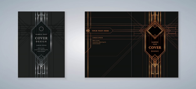Cover book gatsby design set Vettore Premium