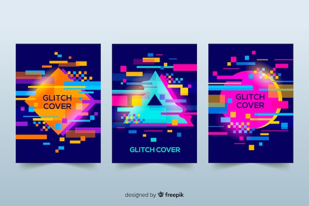 Cover di design con colorato effetto glitch Vettore gratuito