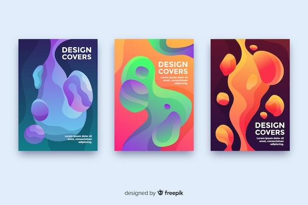 Cover di design con colorato effetto liquido Vettore gratuito