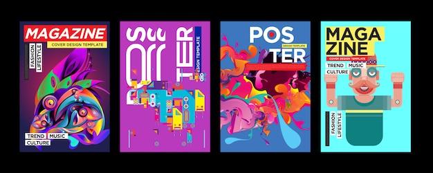 Cover e poster design template per magazine Vettore Premium