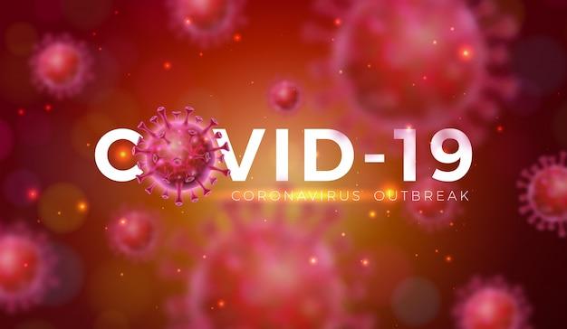 Covid-19. progettazione dell'epidemia di coronavirus con cellula virale in vista microscopica Vettore gratuito