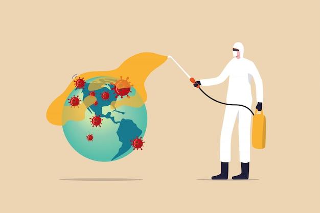 Covid-19 scoppio del coronavirus che diffonde la crisi nel concetto degli stati uniti, operatore medico con attrezzatura protettiva completa che disinfetta il pianeta terra con la mappa americana su di esso con il patogeno del virus covid-19 Vettore Premium